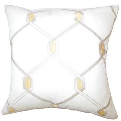 "EADITH GEOMETRIC PILLOW AMBER - 22"" with down insert - Linen & Seam"