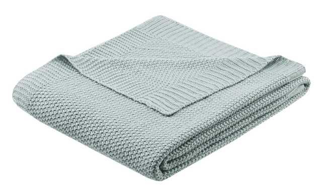 Elliott Knit Throw Blanket - Aqua - Wayfair