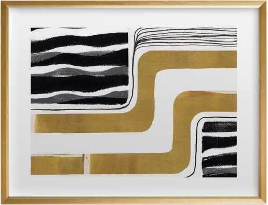 """Skip Waves, Vintage Gold, 24""""x18"""" - Gilded Wood Frame - Minted"""