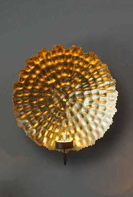 Hammered Gold Leafed Candle Wall Sconce by Burke Decor - Burke Decor