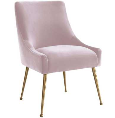 Beatrix Side Chair, Blush/Brushed Gold Base - High Fashion Home