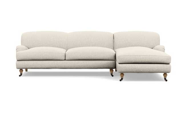 Rose by The Everygirl Chaise Sectional in Wheat Cross Weave with White Oak with Antiqued Caster legs - Interior Define