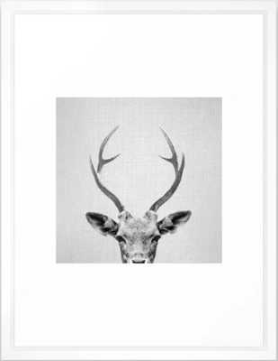 Deer - Black & White Framed Art Print - Society6