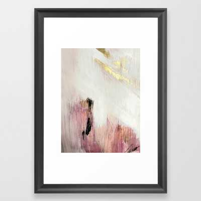 Sunrise [2]: a bright, colorful abstract piece in pink, gold, black,and white Framed Art Print - Society6