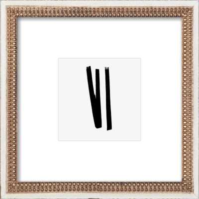 Lines 2, 1 - Framed Art Print -Distressed Cream Double Bead Wood frame - Artfully Walls