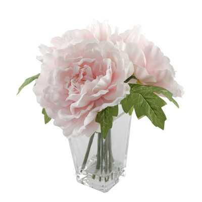 Silk Peonie Floral Arrangement and Centerpiece in Vase - Wayfair