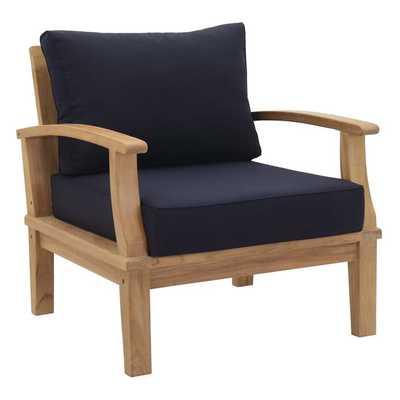 MARINA OUTDOOR PATIO TEAK ARMCHAIR IN NATUAL NAVY - Modway Furniture
