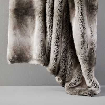 Faux Fur Ombre Throw - Mocha - West Elm