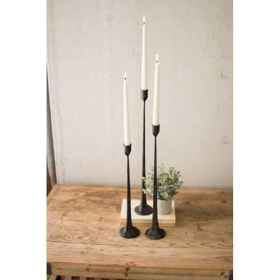 3 Piece Cast Tall Iron Candlestick Set - Wayfair