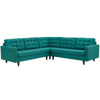 EMPRESS 3 PIECE UPHOLSTERED FABRIC SECTIONAL SOFA SET IN TEAL - Modway Furniture