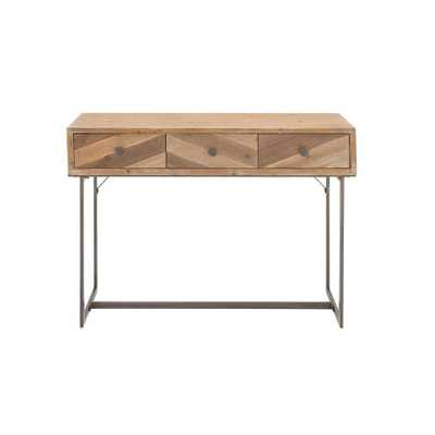 Light Brown Wood and Iron 3-Drawer Console Table - Home Depot