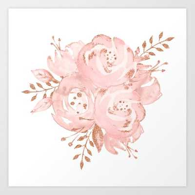 Roses Gold Glitter Pink by Nature Magick Framed Art Print - Society6