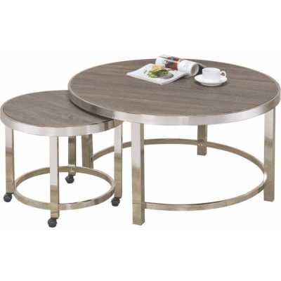 Underhill Contemporary Metal and Wooden 2 Piece Coffee Table Set - Wayfair