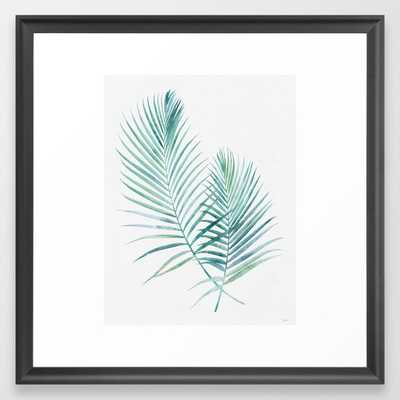Twin Palm Fronds - Teal Framed Art Print - Society6