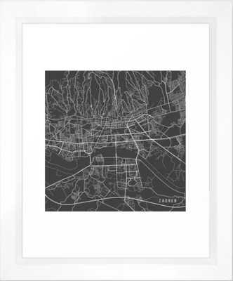 Zagreb Map, Croatia - Gray Framed Art Print - Society6