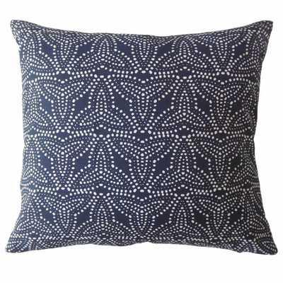 """Gimbya Geometric Pillow Denim - 20"""" x 20"""" with down insert - Linen & Seam"""