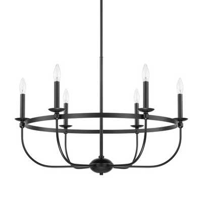 SIMPLY BLACK BASKET CHANDELIER - 6 LIGHT - Shades of Light
