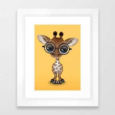 Cute Curious Baby Giraffe Wearing Glasses Framed Art Print - Society6