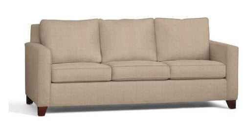 Cameron Square Arm Upholstered Sofa, Polyester Wrapped Cushions, Performance everydaylinen(TM) Stone - Pottery Barn