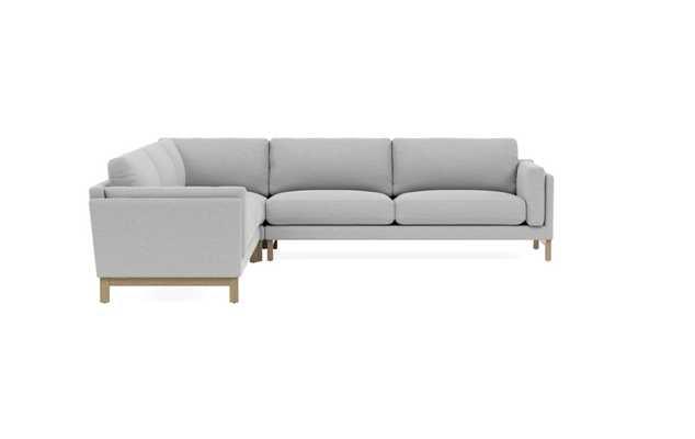"GABY 4-Seat Corner Sectional-Ecru-White Wash Oak Single Wood Rail Leg-92""-standard - Interior Define"
