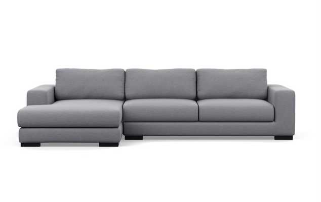 "HENRY Sectional Sofa with Left Chaise - Dove Pebble Weave - Matte Black Wood Leg - 110"" - Interior Define"