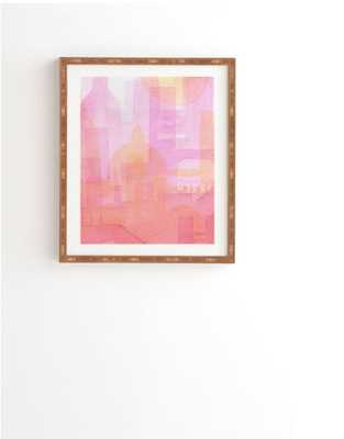 "PINK AND GOLDEN CITY- 14"" x 16.5""- White Wood Frame - Wander Print Co."