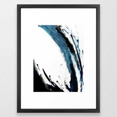 """Reykjavik: a pretty and minimal mixed media piece in black, white, and blue Framed Art Print - 20"""" X 26"""" - Vector Black - Society6"""