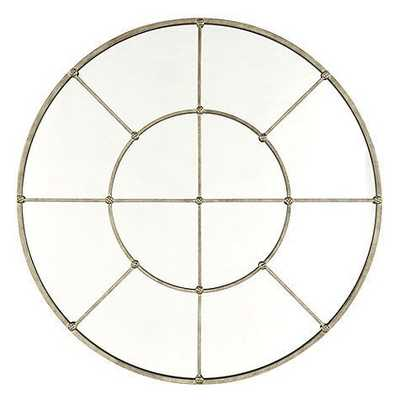 "Grand Palais Round Mirror - 36"" - Antique Silver - Ballard Designs"