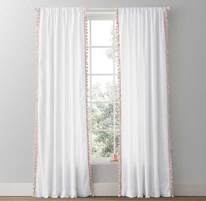 TASSEL-TRIMMED VOILE DRAPERY PANEL - 84'' - RH Baby & Child