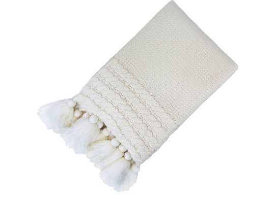 "Knit Throw Blanket with Tassels Cream 50""x60"" - Target"