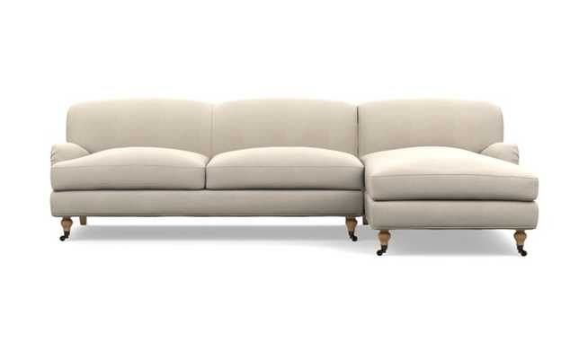 """Rose by The Everygirl Chaise Sectional in Natural Heavy Cloth with White Oak with Antiqued Caster legs - 105"""" - Interior Define"""