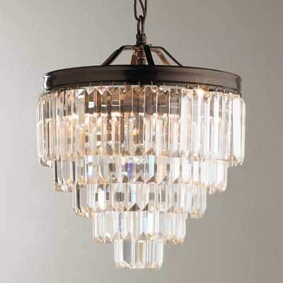 MODERN FACETED GLASS LAYERED MINI CHANDELIER - CONVERTIBLE - Shades of Light