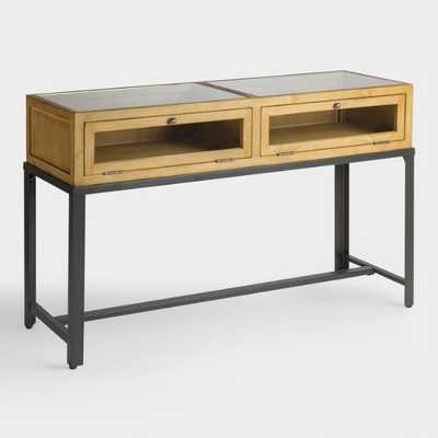 Gray Wood and Glass Syena Display Console Table by World Market - World Market/Cost Plus