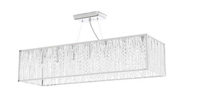 Sophia Collection 7-Light Chrome Pendant with Woven Laser Cut Crystal Rectangular Shade - Home Depot