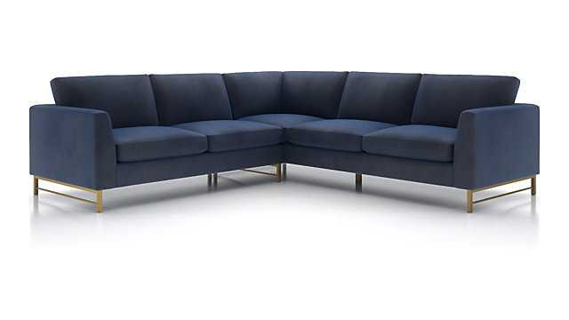 Tyson 2-Piece Left Arm Corner Sofa Sectional with Brass Base, View Navy Fabric - Crate and Barrel