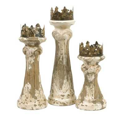 Feliciano Hand Carved Wood Candleholders - Set of 3 - Mercer Collection