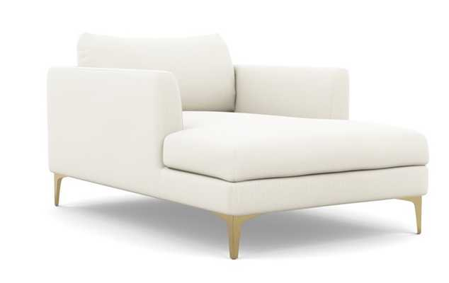 OWENS CHAISE Chaise Lounge Ivory Heavy Cloth Brass Plated Sloan L Leg - Interior Define