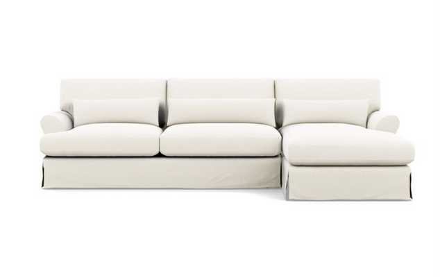 Maxwell Slipcovered Chaise Sectional in Ivory Heavy Cloth with Oiled Walnut with Brass Cap legs - Interior Define