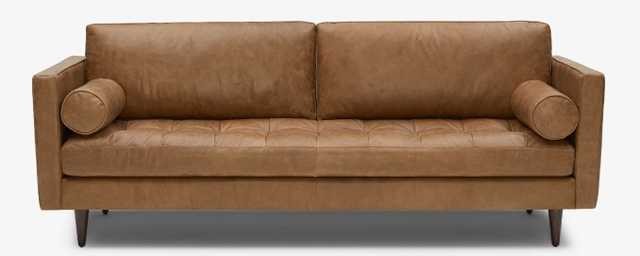 Briar Leather Sofa in Santiago Ale with Mocha wood stain - Joybird