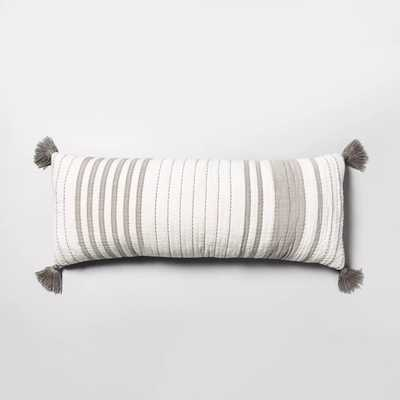 Lumbar Pillow Oversized Stripe Gray & Sour Cream - Hearth & Hand™ with Magnolia - Target