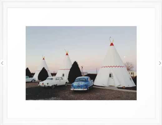 "Wigwam Motel Framed Art Print 1,021 by Kevin Russ - 20"" x 26""- scoop white - Society6"