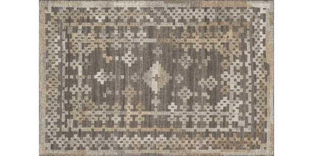 "AK-01 CHARCOAL / TAUPE Rug, 7'9"" x 9'9"" - Loma Threads"