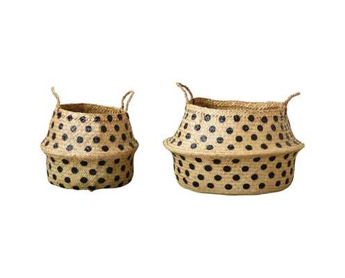 """Round Wicker Collapsible Baskets With Dots (14""""& 19.75"""") - Set of 2 - 3R Studios - Target"""