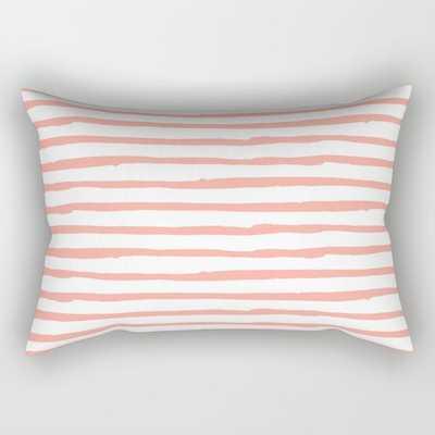 "Pink Drawn Stripes Rectangular Pillow - 25.5"" X 18"" - Society6"