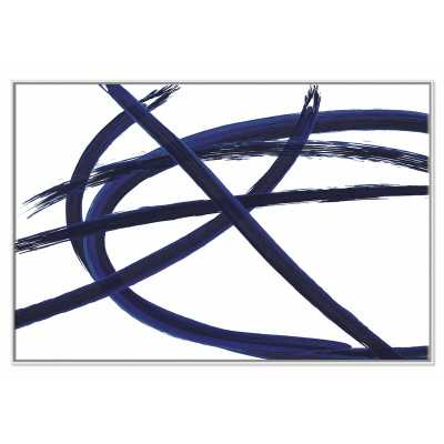 "'Brush in Motion - Indigo III' Floater Frame Painting Print on Canvas, 41"" H x 61"" W x 2"" D, White Framed - Perigold"