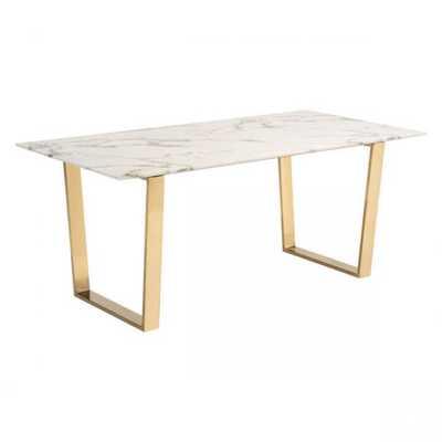 Atlas Dining Table Stone & Gold - Zuri Studios