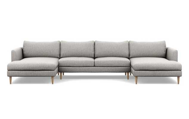 Owens U-Sectional with Earth Cross Weave Fabric, Natural Oak legs, and Bench Cushion - Interior Define