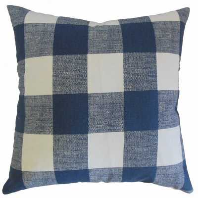 "Yeriel Plaid Pillow Blue - 20"" x 20"", Down insert - Linen & Seam"