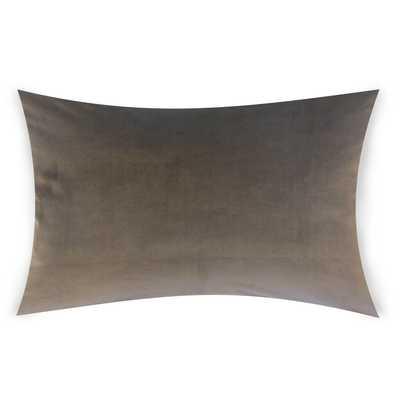 "Classic Velvet Pillow, Coal, 12"" x 18"" Lumbar - Havenly Essentials"