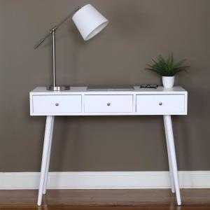 MId Century Gloss White Console Table - Home Depot